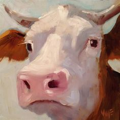 """Daily Paintworks - """"#37 Holy Cow"""" - Original Fine Art for Sale - © Patty Voje"""