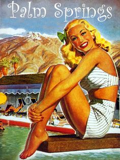 Palm Springs Vintage Pinup Travel Poster Light by Polkadotdog Palm Springs Resorts, Palm Springs Style, Vintage California, California Dreamin', Vintage Films, Vintage Ads, Art Deco Print, Palm Desert, Poster S