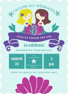 Mermaid Friends Kids Birthday Party Invitation