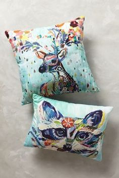 Starla Michelle Halfmann Mooreland Pillow $128. @HiHeatherBlu  this is pricy but it would be pretty cool to have some of your art  put on pillows. I was thinking about using something like spoonflower then adding in some embroidery or pom poms would be cute :)