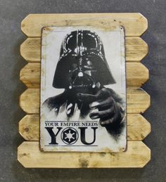 Star Wars Darth Vader Retro Metal Poster Framed in Distressed Pinewood by ArtMaxAntiques on Etsy