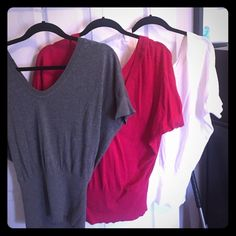 Express tops/shirts One gray, dark pink, and off white light sweater tops. $28 for all or $12 each! Express Tops
