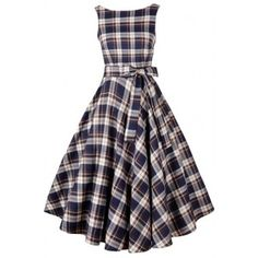 Vintage Tartan Print V Back Midi Dress