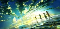 Between Infinity by `yuumei on deviantART This is just a beautiful piece of digital art and the way the sky is dark from where they were and light to where they are going speaks to me.
