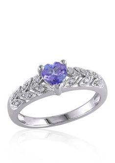 Belk  Co. Purple Sterling Silver Tanzanite and Diamond Heart Ring