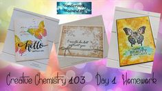 A quick video of my homework of Day 1 from the Online Card Class called Creative Chemistry 103 taught by Tim Holtz. Art Journal Pages, Tim Holtz, Homework, Creative Art, Chemistry, Girl Birthday, Cardmaking, Stampin Up, Craft Supplies