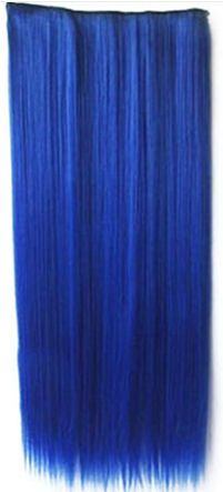 Clip in hair extensions strook / blauw / 55 cm