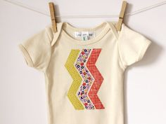 Chevron Onesie - Appliqued American Apparel Organic Cotton - Geometric Print - Ready to ship on Etsy, $20.63 AUD