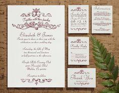 Elegant Burgundy Wedding Invitation Set/Suite by InvitationSnob