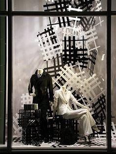 Burberry #windows #retail...Window can be very well be used for promoting monochromatic checks
