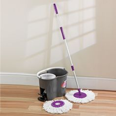 Never wring out a mop head again with the 2-in-1 Spin-Dry Mop System, comprising both a super Mop and an intelligent Bucket. The mop is designed with a 360 degree rotating head and uses super-absorbent microfibre strands that won't drip or mess, so mopping is easier, cleaner and faster.