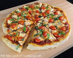 For the Love of Cooking » Pizza with Ricotta, Grape Tomatoes, Red Onion, and Fresh Basil