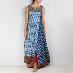 Shop Blue overlapping organic cotton long kurta online at Tadpole Store