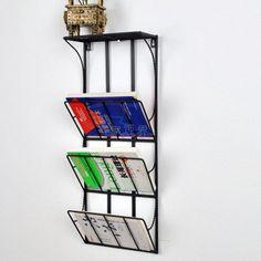 Hierro revistero periódico Continental estante periódico estantería de pared estante del almacenaje estante estante de exhibición colgantes leafletsECSCI envios gratis