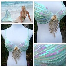 Sea Goddess mermaid bra with iridescent sequin detailing 🐚🌸 to make a custom order for something like this, email… Mermaid Top, Mermaid Tails, The Little Mermaid, Mermaid Sequin, Halloween Karneval, Halloween Kostüm, Halloween Costumes, Couple Halloween, Pirate Costumes