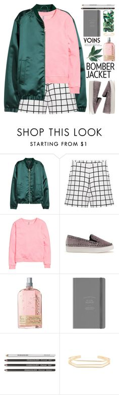 """""""Bomber jacket"""" by purpleagony ❤ liked on Polyvore featuring H&M, L'Occitane, Milly, women's clothing, women, female, woman, misses, juniors and bomberjacket"""