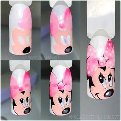 Photo latest nail art designs galleryfrench tip nail designs for short nails nail art stickers online nail art stickers walmart best nail polish strips 2019 Cartoon Nail Designs, Animal Nail Designs, Nail Art Designs, Cute Nail Art, Cute Nails, Pretty Nails, Nail Art Modele, Mickey Mouse Nails, Nail Drawing