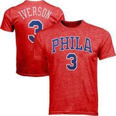 c44fb79ee Majestic Allen Iverson Philadelphia 76ers Hardwood Classics Name And Number  Premium Tri-Blend T-Shirt - Red