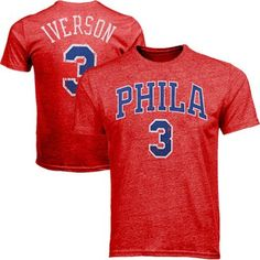 Majestic Allen Iverson Philadelphia 76ers Hardwood Classics Name And Number Premium Tri-Blend T-Shirt - Red