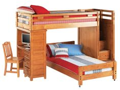 Creekside Twin/Twin Loft Bed w/ Desk and Storage Steps - American Home