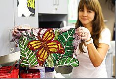 Crayon Batik -paint with melted crayons on fabric, then iron onto paper - end up with print and fabric