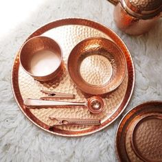 India Imported Copper Rose Gold Hammer Pattern Handmade Tray / Tea Tray / Bowl / Cup Teapot Decoration / Nordic Style Cigar Cutter, Cigars, Smoking, Cigar