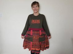Upcycled dress Plus size womens clothes Upcycled sweater tunic