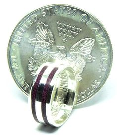 Purple heart wood and American silver eagle dollar coin ring Silver Eagle Coins, Silver Eagles, Purple Heart Wood, Engagement Rings For Men, Coin Ring, Dollar Coin, Moonstone Ring, Wedding Bands, American