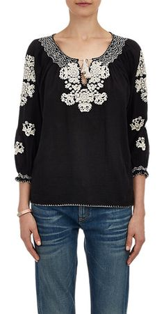 Ulla Johnson Embroidered Voile Peasant Top - Blouses - Barneys.com