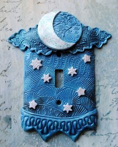 Crescent Moon and Stars, light switch cover, switch plate, blue and white polymer clay over metal cover, glitter