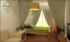 9畳ワンルームのベッドにカーテンで仕切りを作る 実例2