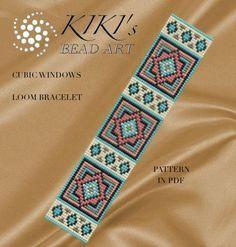 Bead loom pattern Cubic windows geometric LOOM bracelet