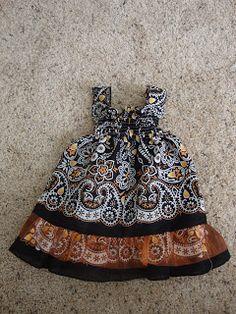 Bandana Dress Tutorial - Just Jonie Sewing For Kids, Baby Sewing, Toddler Dress, Baby Dress, Clothing Patterns, Dress Patterns, Little Girl Dresses, Girls Dresses, Bandana Crafts
