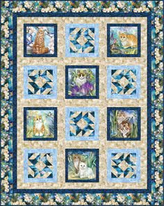 Be Pawsitive - Sophisto Cats Free Quilt Pattern Panel Quilts, Quilt Blocks, Cat Pattern, Free Pattern, Pattern Ideas, Cat Quilt, Animal Quilts, Robert Kaufman, Quilt Patterns Free