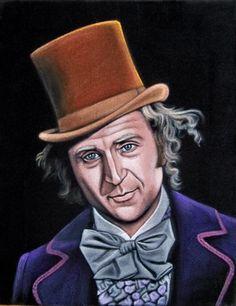 Black velvet painting of Willy Wonka (actor Gene Wilder) by VelvetGeek (artist Bruce White)