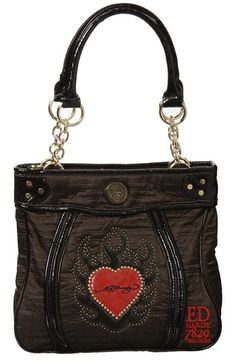 df1ea55a92e2 plus shipping Worth buy! Actual for booking Ed Hardy Setty Dark Brown Bag Ed  Hardy Setty bag w.