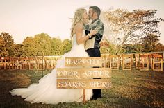 Happily Ever After Starts Here Customized Wedding Sign - Shabby Chic Rustic Style Wedding - Wedding Decoration - Rustic Wedding Signage by CountryBarnBabe on Etsy https://www.etsy.com/listing/112464614/happily-ever-after-starts-here