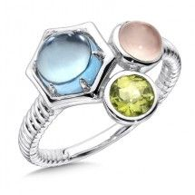 Blue Topaz, Rose Quartz, & Peridot  Ring in Sterling Silver. Please call us for details or to order!