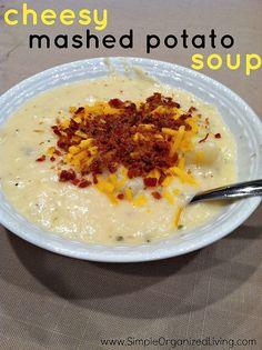 Cheesy Mashed Potato Soup via AndreaDekker.com
