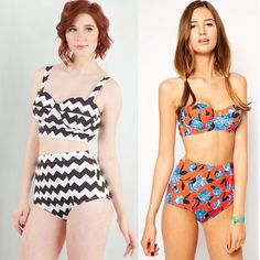 19c5aced29 Cover up the love handles and keep your tummy tucked in with these high  waisted bikinis