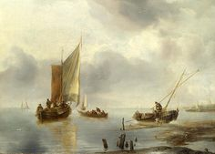 Small Vessel In Light Airs And Another Ashore  Jan van de Cappelle
