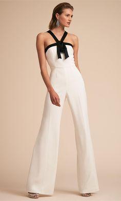 Women White Jumpsuit Straps Two Tone Backless Long Wide Leg Jumpsuit White Jumpsuit, Jumpsuit Dress, Dress Up, White Pants, Body Blanc, Jumpsuit Elegante, Robes D'occasion, Wedding Jumpsuit, Modelos Plus Size