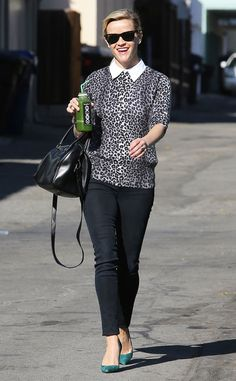 Wild Side from Celebrity Street Style  Isn't Reese Witherspoon the picture of poised? The Wild actress steps out with her green juice in tow, wearing a leopard-print top and slim black jeans.