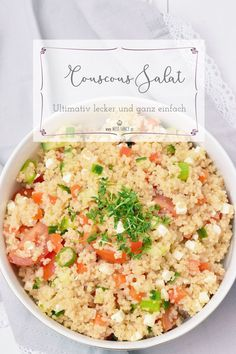 This couscous salad can be prepared very quickly. - This couscous salad can be prepared very quickly. If you do not have the time or opportunity, you c - Detox Recipes, Fruit Recipes, Veggie Recipes, Seafood Recipes, Salad Recipes, Cooking Recipes, Healthy Recipes, Fancy Recipes, Bulgur Salad
