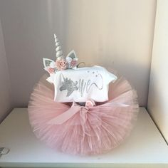 Blush and silver bbirthday outfit unicorn birthday outfit