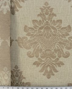 Heavy Weight Drapery / Heavy Weight Upholstery This reversible fabric is a chenille jacquard with emblems in beige and tan. Uses include upholstery, draperies, pillows, cornice boards and. Cooler Online, Drapery, Cool Fabric, Curtains, Sofa Upholstery, Pillows, Upholstery Fabric, Printed Shower Curtain, Home Decor