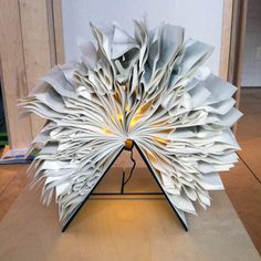 Book light made out of old books from a book museum (Museum Meermanno).