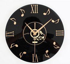 Музыкальные ноты часы напоминает стиль настенные часы 3D граммофон запись часы стены старинные предметы интерьера