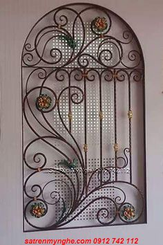 Khung cửa sổ mái vòm KC022 Styrofoam Art, Window Bars, Welding Design, Window Grill Design, Iron Windows, Faux Stained Glass, Iron Art, Iron Decor, Door Grill
