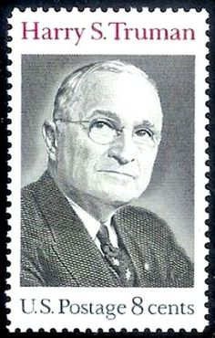 Harry S TRuman 1973 Harry S. Truman postage stamp was designed by Bradbury Thompson and first placed on sale at the Post Office at Independence, Missouri, on May Old Stamps, Rare Stamps, Vintage Stamps, Harry Truman, Presidential History, Commemorative Stamps, Postage Stamp Art, Stamp Printing, Stamp Collecting